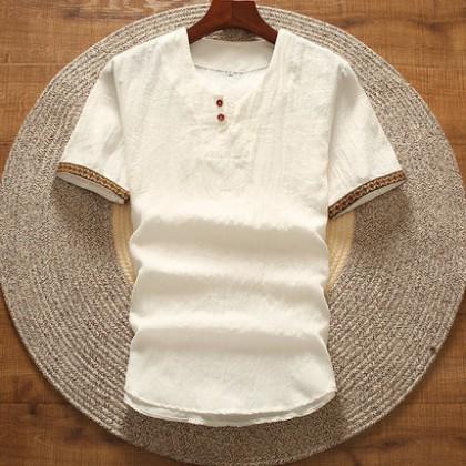 Men's Cotton Linen Short Sleeved T-Shirt V-Neck Chinese Style Plus Size Shirt