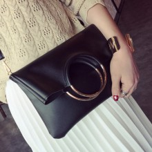 Women Metal Ring Envelope Bag Folding Clutch Bag Shoulder Portable Bag