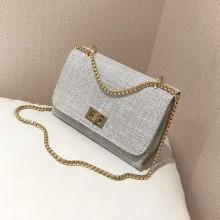 Women Chain Bag Solid Color Retro Shoulder Bag Diagonal Small Bag