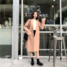 Women Popular Coat Winter Clothing Woolen Coat Long Section Without Buckle