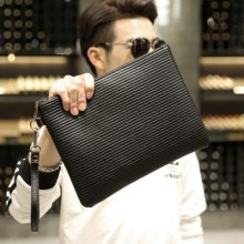 Men's Simple Handbag Leather Clutch Bag Business Paper Bag Casual Wrist Bag