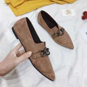 Women Peas Flat Shoes Pointed Student Shoes Metal Decoration
