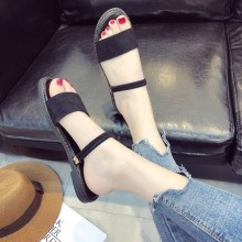 Women Beach Shoes Bohemian Sandals Slippers Flat Simple Ankle Strap Plus Size
