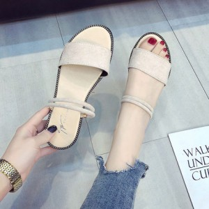 Women Beach Shoes Bohemian Sandals Slippers Flat Simple Ankle Strap Plus Size