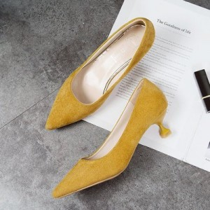 Women Shallow Mouth High Heels Pointed Suede Single Shoes