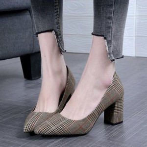 Women Work Shoes Thick High Heels Shallow Mouth Pointed Work Shoes