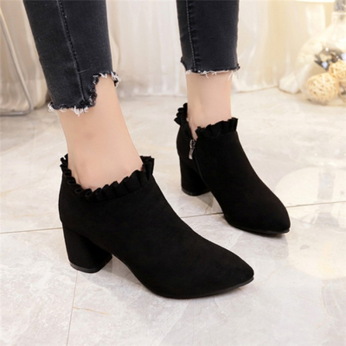 ba10ffdb894 Women High Heel Shoes Thick Heel Pointed Lace Shoes Side Zipper