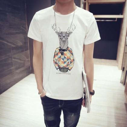 Round Neck Short Sleeve T-Shirt Men Printed