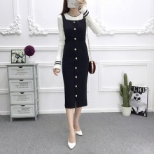 Women Long Paragraph Dress Strap Dress Buckle Split Thin Slim Sleeveless Dress