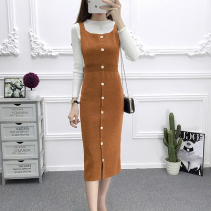 Women Long Paragraph Dress Strap Dress Buckle Split Thin Slim Sleeveless Dress