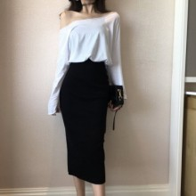 Women High Waist Skirt Thin Split Knit Bag Hip Skirt Mid Length Long Skirt
