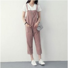Women Loose Straight Bib Pants Corduroy On-Piece Pants Casual Thin Pants