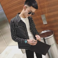 Men's Long Sleeved Jacket Square Collar Closing Sleeved Slim Fit Striped Jacket
