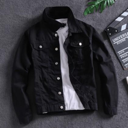 Men's Long Sleeved Coat Denim Collared Jacket Side Seam Pocket Plus Size