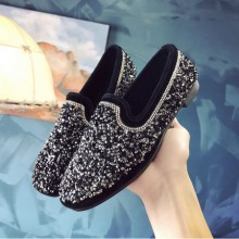 Women Rhinestone Chain Flat Peas Shoes Social Soft Bottom Plus Size Shoes