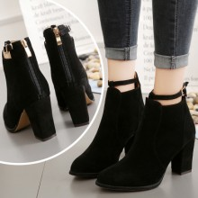 Women Booties High Heel Shoes Thick Pointed Boots Zipper Plain Shoes