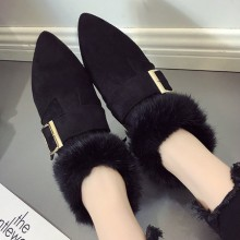 Women Fur Shoes Velvet Warm Flat Cotton Shoes Social Shoes Pointed Boots