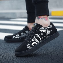 Men's Winter Canvas Shoes Black Shoes Students Shoes Flat Heel Lace-Up