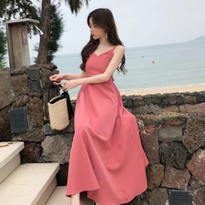 Women Beach Skirt Back Straps Long Skirt High Waist Dress Solid Color V-Neck