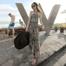 Women Bohemian Seaside Beach Jumpsuit Trousers Thin Cotton Silk Skirt