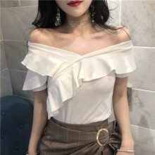 Women Off Shoulder Short Sleeved T-Shirt Slim Fit Summer Clothing