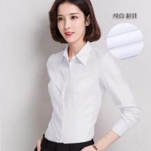 Women Cotton White Shirt Long Sleeved Professional V-Neck Plus Size Shirt