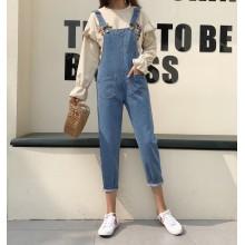 Women Spring Personality Bib Loose Casual Jumper Pants Jeans Jumpsuit