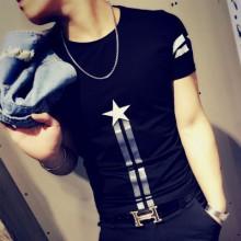 Men's Tattoo Clothes Summer Shirt Short Sleeved T-Shirt Tight Fitting Slim Shirt