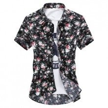 Men's Summer Floral Shirt Short Sleeved Flower Print Collared Shirt