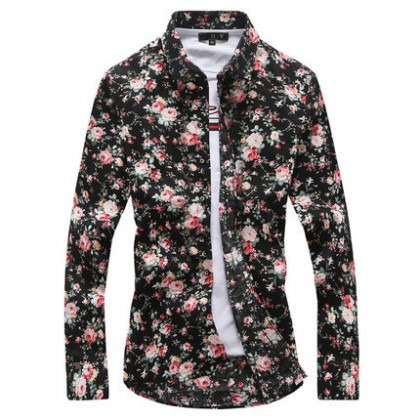 Men's Long Sleeved Summer Floral Shirt Slim Casual Plus Size Collared Shirt