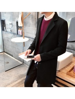 Men's Autumn and Winter Long Woolen Coat Long Sleeved Collared Coat Plus Size