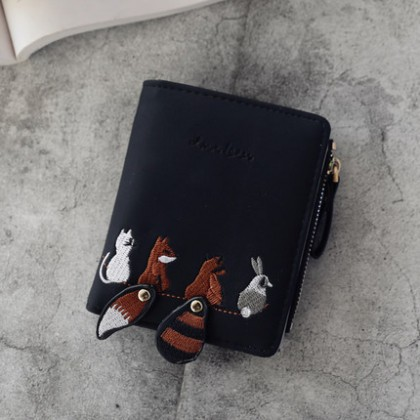 Women Short Embroidered Purse Animal Fold Simple Cute Student Wallet