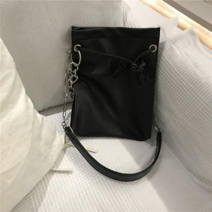 Women Drawstring Bucket Bag Sling Shoulder Bag Chain Handbag