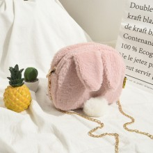Women Small Bag Rabbit Fur Bag Cute Cartoon Chain Shoulder Bag