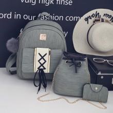 Women Retro Backpack Student Bag Travel Bag Drawstring Three Piece Set