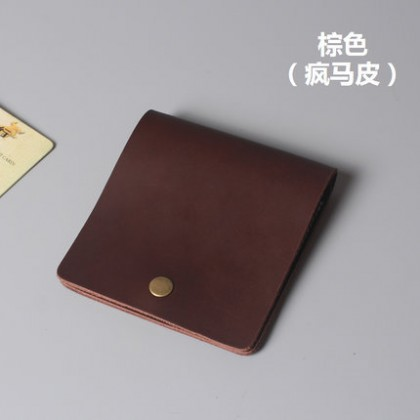 Men's Retro Thin Wallet Handmade Leather Wallet Small Card Wallet