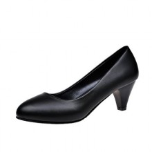 Women Black Leather Shoes Round Head Thick High Heels Shoes Work Plus Size Shoes