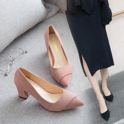 High Heel Scoop Shoes Thick Heel Plus