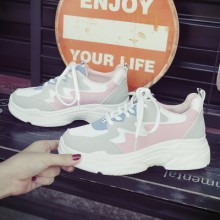 Women White Thick Heel Rubber Shoes Lace-Up Student Shoes Plus Size