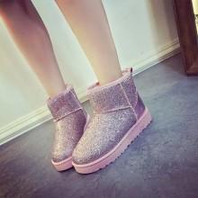 Women Velvet Thick Short Boots Tube Sequins Flat Bottom Snow Plus Size Shoes
