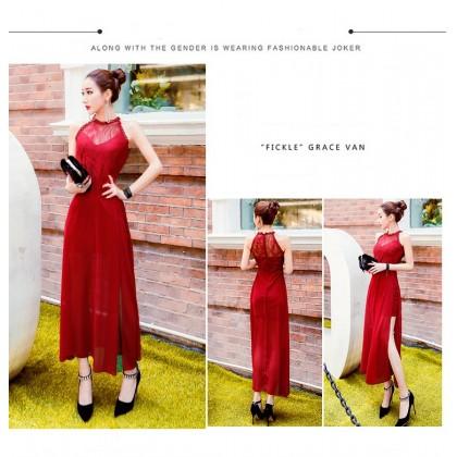 Women Korean Version Summer RetroTemperament Slit Hanging Neck Chiffon Dress