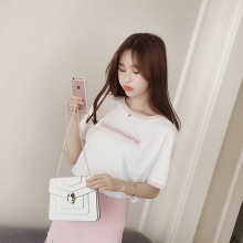 Women  New Summer Tops Large Size Half-Sleeved  Loose Korean Students Wild Shirt