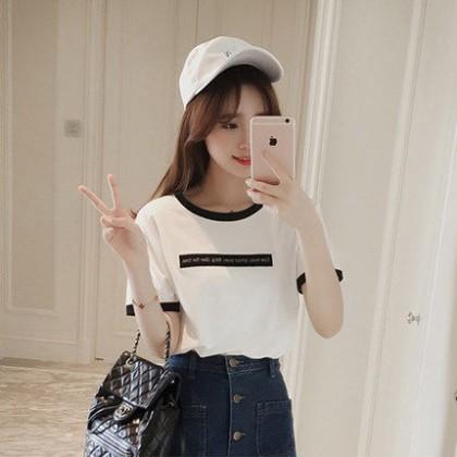 Women  New Summer Tops Large Size Half-Sleeved  Loose Korean Students Wild Shirt