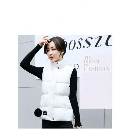 Women Korean Winter Cotton Vest  Sleeveless Student Jacket