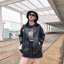 Women  Korean Harajuku BF Wind PU Leather Baseball Female Loose Jacket