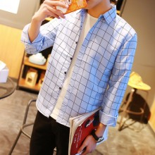Men's Trendy Korean Long Sleeve Loose Plaid Shirt