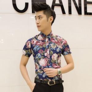 Men's   New Trendy Korean Fashion  Floral Short Sleeve Shirt