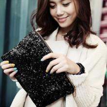 Women's Trendy Sweet Lady  Sequins Retro Envelope Hand Bag