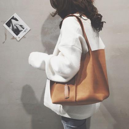 Women Fashion Korean Scrub Big Tote Female Bag