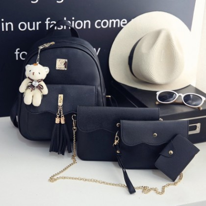 Women  4 IN 1 Korean Fashion Wave Wild Casual Lady Backpack